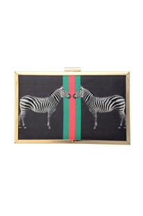 Black clutch zebra print