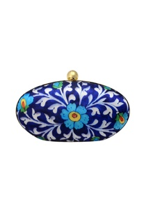 Blue floral printed clutch