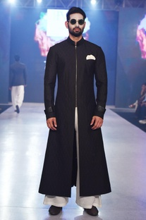Black long embroidered sherwani