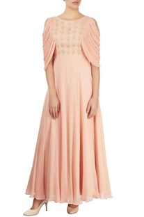 Salmon pink embellished gown