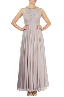 Stone grey embellished gown