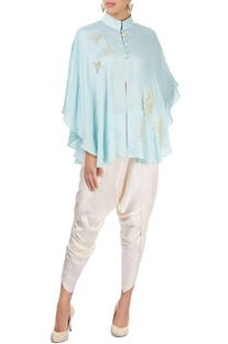 Ice blue cape top with pants