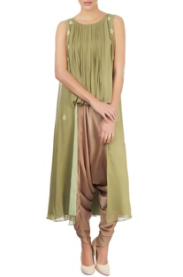Green pleated top