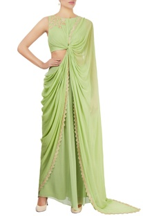 Apple green draped sari