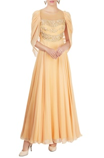 Yellow draped gown