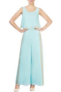 Light blue embellished pant set