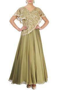 Olive green embellished gown