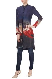 Indigo & red floral printed tunic