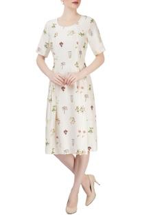 Off white printed dress