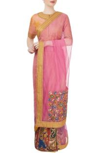Mango yellow & pink madhubani sari
