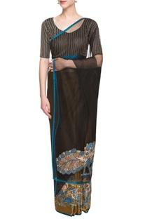 Gold & black sari with applique work