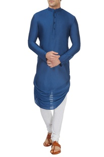 Cobalt blue draped kurta