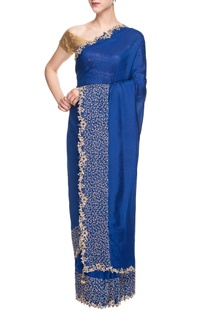 Blue sari with embroidered border