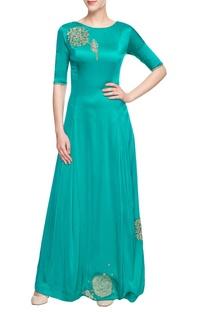 Blue full length kurta with motifs