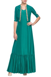 Green embroidered kurta with gathers