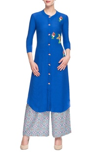 Royal blue embroidered palazzo set