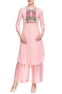Rose pink embroidered palazzo set