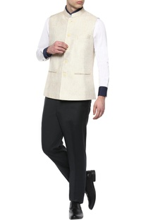 Cream cotton jute Nehru jacket