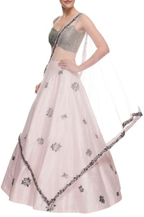 Shimmer grey & blush pink lehenga set