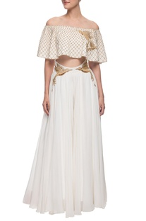 Ivory crop top & palazzo pants