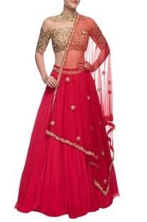 Gold & red embellished lehenga set