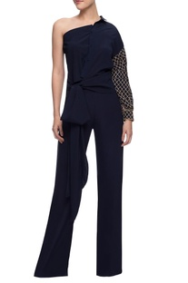 Navy blue one shoulder shirt & trousers