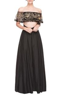 Black embroidered skirt set