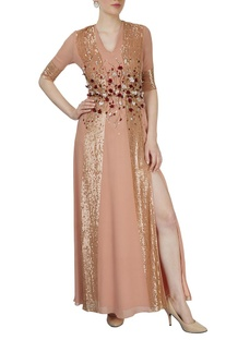 Dusky pink embroidered gown