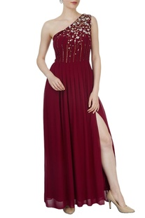 Bright wine sequined gown