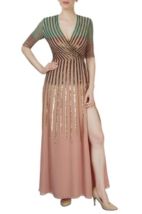 Dusky pink sequined gown