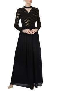 Black sequined gown