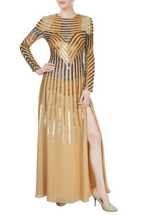 Beige sequined gown