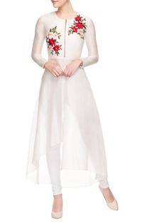White multi-coloured embroidered kurta