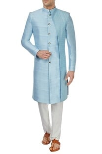 Powder blue rawsilk sherwani