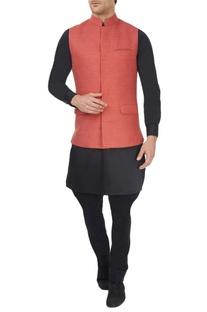Light red jute wool waistcoat
