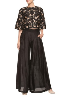 Black palazzo with embroidered crop top