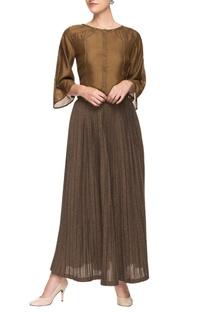 Brown silk top and lurex skirt