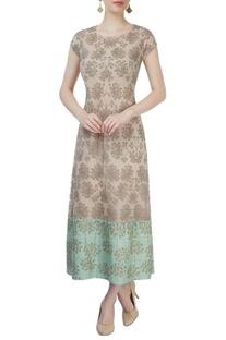 Beige & light green resham embroidered dress