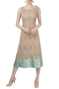 Beige & light green sleeveless embroidered dress