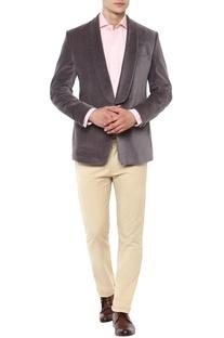 Grey velvet tuxedo
