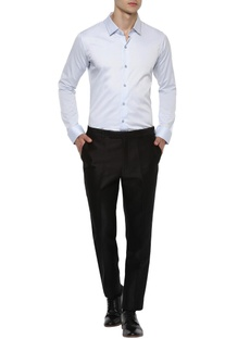 Blue wide collar dobby shirt