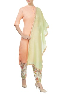 Peach kurta with embroidered pants & dupatta