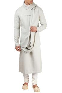 Light grey textured kurta set
