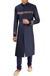 Midnight blue sherwani set