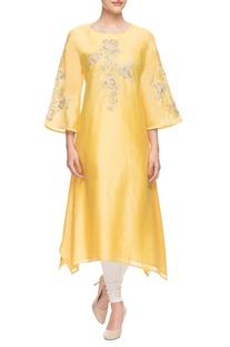 Yellow embroidered asymmetric kurti