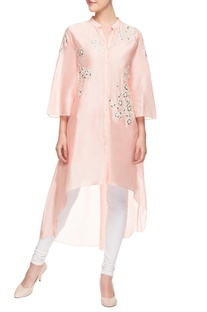 Light pink asymmetric kurti