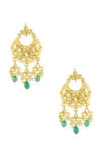 Gold finish earrings with green stones