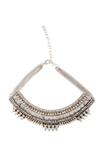 Silver studded & cutwork necklace