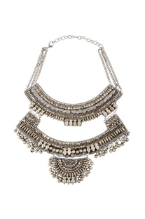 Silver double layered necklace