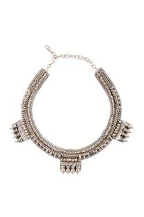 Silver studded novel necklace